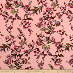 Rayon Challis Majestic Floral Coral/Cranberry/Sage