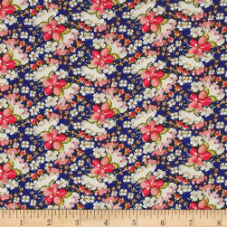 Rayon Challis Mini Floral Royal/Coral/Ivory Fabric