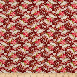 Rayon Challis Mini Floral Wine/Coral/Ivory Fabric