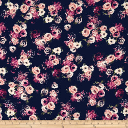 Rayon Challis English Floral Navy/Coral/Ivory