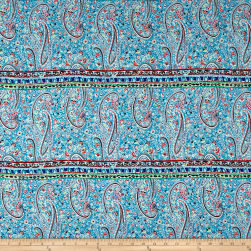 Rayon Challis Ethnic Paisley Teal/Red/Royal