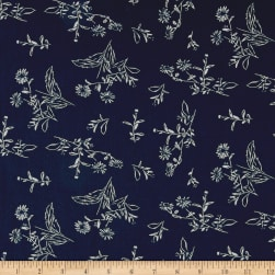 Bubble Crepe Floral Navy/Ivory Fabric