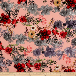 Bubble Crepe Tropical Floral Coral/Poppy/Black Fabric