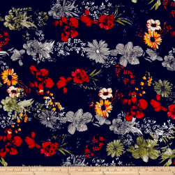 Bubble Crepe Tropical Floral Black/Poppy/Gold Fabric