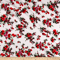 Liverpool Knit English Floral Ivory/Red/Scarlet