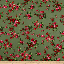 Liverpool Double Knit English Floral Kiwi/Scarlet/Pink