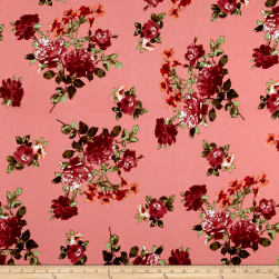 Liverpool DoubleKnit Romantic Floral Coral/Scarlet/Peach Fabric