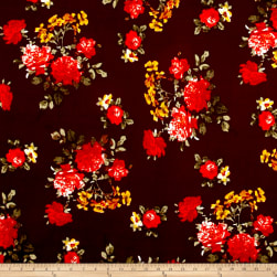 Liverpool Knit Romantic Floral Wine/Poppy/Gold Fabric