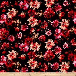 Liverpool Double Knit Bohemian Floral Black/Poppy/Peach Fabric