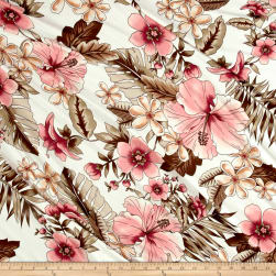 Double Brushed Printed Jersey Knit Tropical Floral Ivory/Rose/Mocha