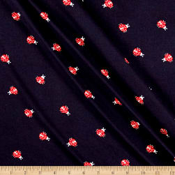Double Brushed Printed Jersey Knit Ladybug Navy/Red Fabric