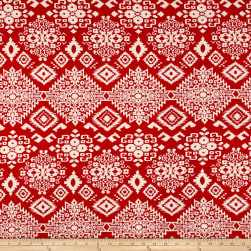 Rayon Challis Aztec Red/Ivory