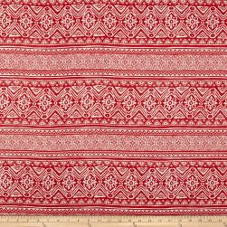 Rayon Challis Aztec Stripe Coral/Ivory Fabric