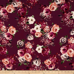 Rayon Challis English Floral Wine/Cranberry/Blush