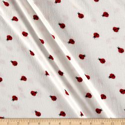 Bubble Crepe Ladybug Ivory/Red/Black Fabric