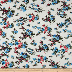Bubble Crepe English Floral Ivory/Coral/Blue Fabric
