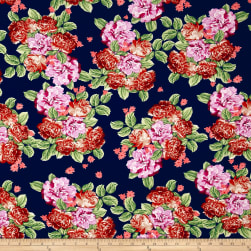 Bubble Crepe Bountiful Floral Navy/Rust/Lavender Fabric