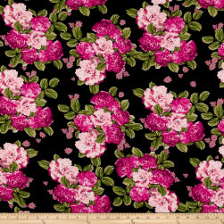 Bubble Crepe Bountiful Floral Black/Fuchsia/Coral Fabric