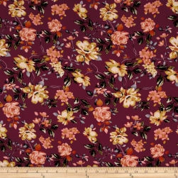 Bubble Crepe English Floral Wine/Coral/Mocha Fabric