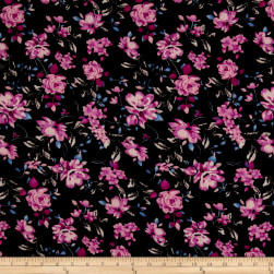 Bubble Crepe English Floral Black/Mauve/Rose Fabric