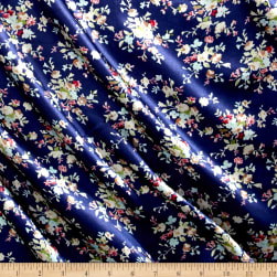 Charmeuse Satin Mini Floral Navy/Mint/Ivory