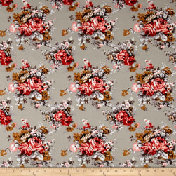 Liverpool Double Knit English Floral Taupe/Red/Cinnamon