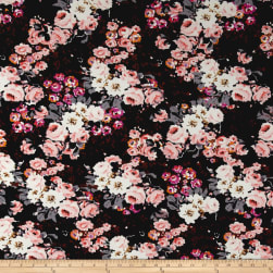 Liverpool Double Knit Cluster Floral Black/Pink/Grey