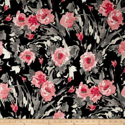 Liverpool Double Knit Contemporary Floral Black/Peach/Taupe