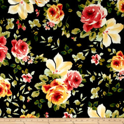 Liverpool Double Knit Shabby Floral Black/Peach/Green