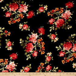 Double Brushed Printed Jersey Knit English Floral Black/Coral/Rust