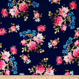 Double Brushed Printed Jersey Knit English Floral Navy/Pink/Ocean