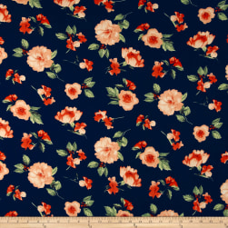 Double Brushed Printed Jersey Knit Contemporary Floral Navy/Peach/Sage