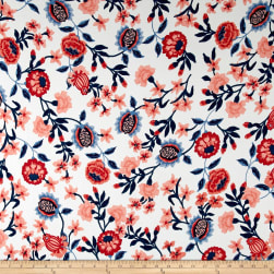 Double Brushed Printed Jersey Knit Majestic Floral Ivory/Rust/Navy