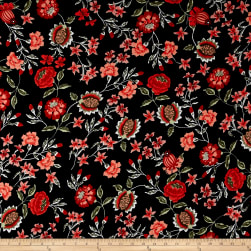 Double Brushed Printed Jersey Knit Majestic Floral Black/Poppy/Sage