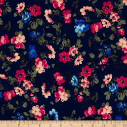 Liverpool Double Knit Mini Floral Navy/Geranium/Coral Fabric