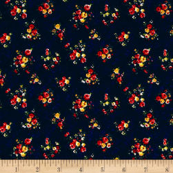 Liverpool Double Knit Denim Mini Floral Navy/Red/Yellow Fabric