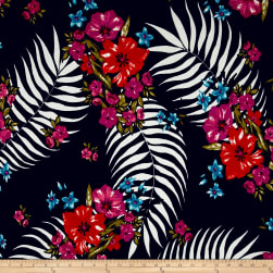 Liverpool Double Knit Tropical Floral Navy/Red/Camelia Fabric