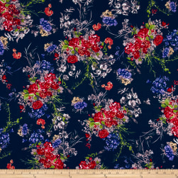 Liverpool Double Knit English Floral Navy/Poppy/Purple Fabric
