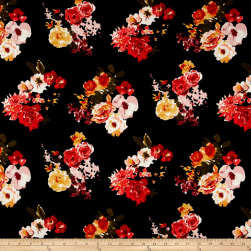 Liverpool Double Knit Watercolor Floral Black/Yellow/Poppy Fabric