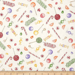 Gingerbread Christmas Candy Decorations Cream Fabric