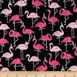 Cosmo Animals Flamingo Cotton Linen Blend Black