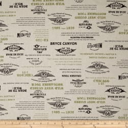 Cosmo Motorcycles Words Cotton Linen Blend Natural