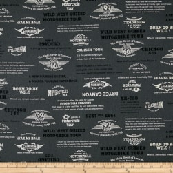 Cosmo Motorcycles Words Cotton Linen Blend Grey
