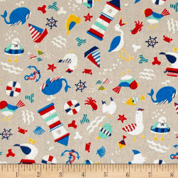 Cosmo Busy Bird Seashore Cotton Linen Blend Natural