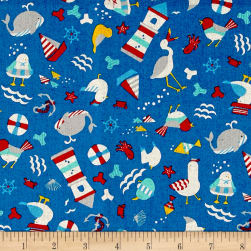 Cosmo Busy Bird Seashore Cotton Linen Blend Blue