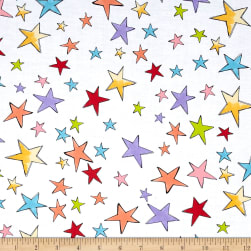 Loralie Designs Vintage Holiday Stars White Fabric