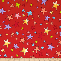 Loralie Designs Vintage Holiday Stars Red Fabric