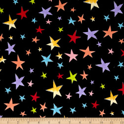 Loralie Designs Vintage Holiday Stars Black Fabric