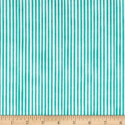 Loralie Designs Vintage Holiday Lazy Stripe Turquoise Fabric