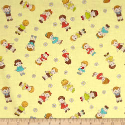 Dreaming Doll Toss Yellow Fabric